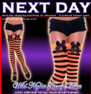 HALLOWEEN FANCY DRESS # BLACK / ORANGE STRIPED STOCKINGS WITH BOW